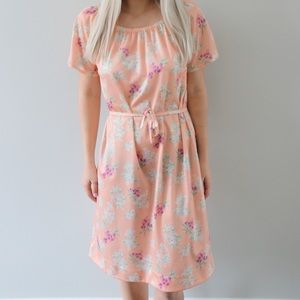 70's Peachy Sundress with Fruity Floral Pattern